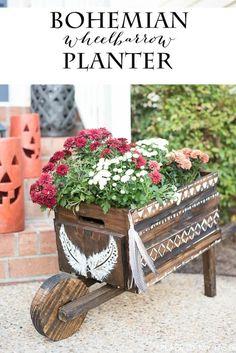 Wheelbarrow Planter with Bohemian Flair