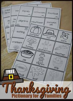 FREE Thanksgiving Pictionary for Families - this free printable Thanksgiving game is perfect for the whole family. Just print the 48 Thanksgiving theme prompts and you are ready to play. One of the sheets has visual prompts so younger kids can play too! #thanksgiving #thanksgivinggames #pictionary  #thanksgivingprintables