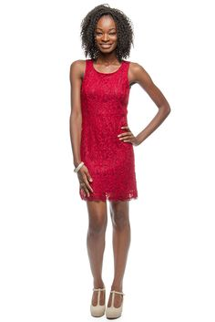 "Ya Los Angeles ""Cranberry Spritzer"" Lace Dress $63 at Fire Finch."