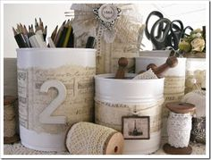 Shabby Chic tin cans are one of my favorite finds ever! Check out Shabby Chic Inspired for more information on these sweet shabby organizers created from basic tin cans. They are stunning!