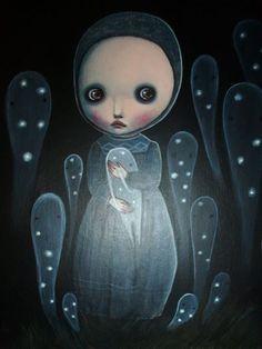 """SELENA LEARDINI """"HOTARU NO HAKA - Una tomba per le lucciole-"""", 2014 Acrilico su cartoncino. Dim. 29,5 x 22 cm https://www.facebook.com/SelenaLeardini.art?fref=ts"""