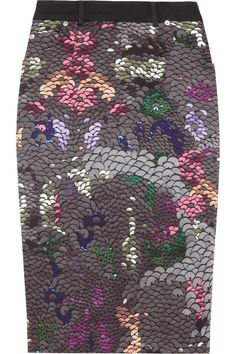 Preen Line Penelope sequin-print stretch cotton-drill pencil skirt