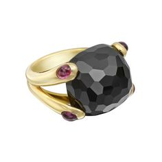 """Verdura """"Candy"""" Black Spinel Ring with Pink Rubellite """"Candy"""" faceted black Spinel Ring in 18k Yellow Gold with four small Cabochon Pink Rubellite accents. Signed Verdura, 8,500 USD"""