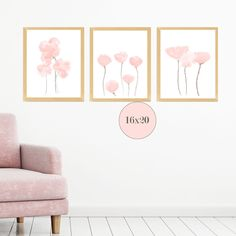Blush Flowers Wall Decor, Set of 3 Prints for Bedroom