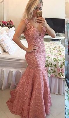 Sexy V Neck Lace Appliques Mermaid Evening Dress 2016 Sleeveless, Lace Prom Dress, Pink Prom Dress, Mermaid Prom Dresses, Pink Mermaid Evening Party Gowns Mermaid Prom Dresses Lace, V Neck Prom Dresses, Pink Prom Dresses, Dress Lace, Dress Prom, Lace Mermaid, Prom Gowns, Formal Dresses, Party Dresses