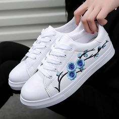 official photos cc7ee 87d25 Sneakers   Ladies Flower Embroidery Sneakers (Free Shipping)