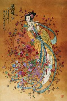 Illustration by Hua San Chan - His paintings illustrate Chinese fairy tales, legends, poetry and historical figures. Geisha Kunst, Geisha Art, Art And Illustration, Botanical Illustration, Fairy Tale Illustrations, Chinese Painting, Chinese Art, Images Victoriennes, Chinese Fairy Tales