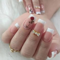 Great Ideas For Holiday Nails – NaiLovely Ruby Nails, Gold Nails, Ongles Forts, Romantic Nails, Stylish Nails, Perfect Nails, Holiday Nails, French Nails, Manicure And Pedicure