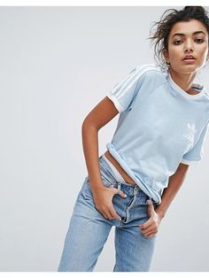ADIDAS Adidas Originals Blue Three Stripe Boyfriend T-Shirt