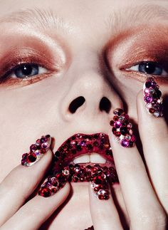 Marie Claire Swarovski Beauty Editorial with model Maria Kalinina- Bling, sparkly holiday beauty editorial | NEW YORK FASHION BEAUTY PHOTOGRAPHER- EDITORIAL COMMERCIAL ADVERTISING PHOTOGRAPHY