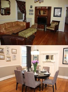 Amazing room transformation by Sabrina Soto. Like the dark wood with the gray chairs and the contrasting panel on the wall.