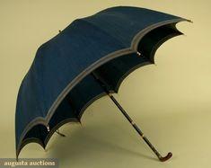 1790-1810 umbrella with dark blue-green cotton cover, striped with beige around…