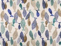 Piekna tkanina dekoracyjna, kolorowe ryby,140cm