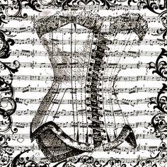 corset sur fond de partition de musique