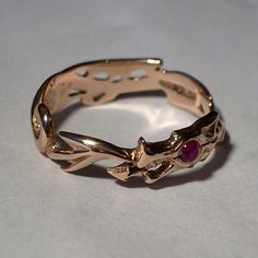Red Gold and Ruby Dragon Ring by ArgentAqua on Etsy, £160.00