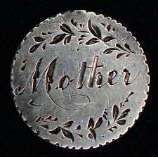 Love Token Engraved Mother on Great Britain 3 Three Pence Silver 3P.