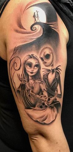 Unique Jack and Sally Tattoos (The Nightmare Before Christmas) - Tattoo Me Now Chicano Tattoos Sleeve, Disney Sleeve Tattoos, Arm Sleeve Tattoos, Sleeve Tattoos For Women, Disney Tattoos, Hand Tattoos, Tatoos, Brides With Tattoos, Tattoos For Guys