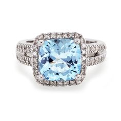 Fink's Jewelers - Fink's Cushion-Cut Aquamarine Ring with Diamonds, $2,495.00 (http://finksjewelers.com/finks-cushion-cut-aquamarine-ring-with-diamonds/)