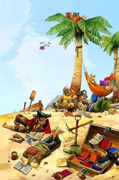 A treasure worth digging for. Pirates reading, books as buried treasure. I Love Books, Books To Read, My Books, Library Art, Library Posters, Art Posters, Reading Art, Reading Posters, Reading Quotes