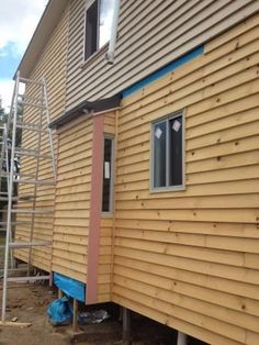 Cladding installed on lower level to match existing weatherboards. House Lift, Queenslander, Cladding, Garage Doors, Shed, Outdoor Structures, Outdoor Decor, Home Decor, Decoration Home