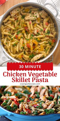 This 30 Minute Chicken Vegetable Skillet Pasta is super quick and easy to make. It uses simple ingredients for a meal the whole family will love! #chicken #30minutemeals #skillet #pasta #dinner