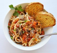 A vegan take on bolognese, this is lentil mushroom bolognese with udon noodles.