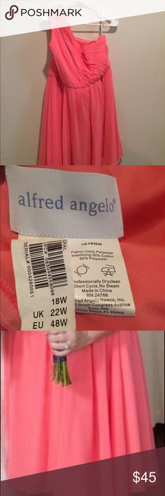 Coral Short Bridesmaids Dress Alfred Angelo Designer, knee length, worn once, excellent condition Alfred Angelo Dresses Long Sleeve