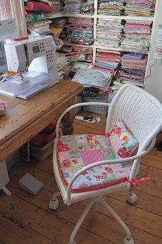 chair & cushion - love the patchwork idea
