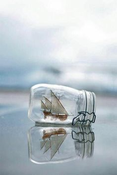 seashellcottage.quenalbertini2: Ship in a mason jar | Moment's