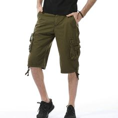 2017 Summer Fashion Cargo Shorts Men Casual Cotton Solid Men's Shorts (Asian Size)