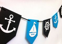 Nautical Party Banner/Garland Baby shower, nursery decor, high chair, banner, pirate birthday party Boat, Anchor, Helm. Red Blue White Black