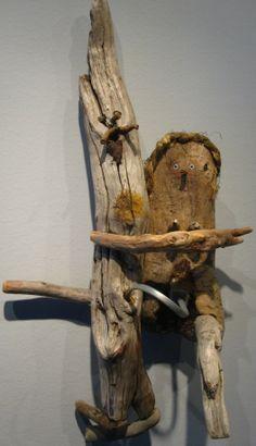 Eklutna Lake love -woodie sculpture by katie blake