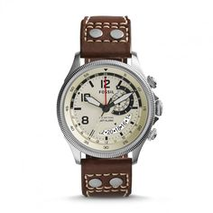 Fossil 'Recruiter' Round Leather Strap Watch, available at Rugged Watches, Fossil Watches For Men, Brown Leather Watch, Studded Leather, Chronograph, Jewelry Accessories, Nordstrom, Stuff To Buy, Collection