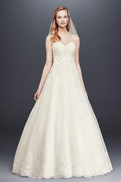 Beaded Lace and Tulle Ball Gown Wedding Dress V3836
