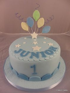 1st birthday cake for a boy Baby blue with white stars white