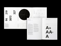 A black and grey colour palette used to create a serious and readable publication