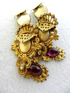 long earrings spectacular 1980 vintage -signed - Italian jewelry designed for theatrical performances-Art.40-