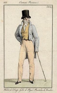 Costume Parisien 1813: Habit de Drap. Gilet de Piqué. Pantalon de Nankin.