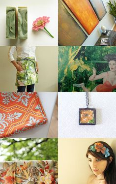 """""""cantaloupe blossom"""" - a wonderful treasury curated by Carter, of WomanShopsWorld, featuring my painting collection """"Smoulder"""" --Pinned with TreasuryPin.com"""