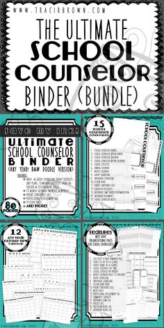 Here is the ULTIMATE binder you have been waiting for! For ANY YEAR, Ink friendly & stylish! Get the yea School Counselor Office, High School Counseling, Elementary School Counselor, School Social Work, Counseling Office, School Counselor Organization, Group Counseling, Elementary Schools, School Counselor Lessons
