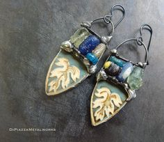 Ancient glass vintage tin earrings by DiPiazzaMetalworks on Etsy