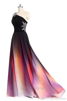 2017 New Sexy One Shoulder Ombre Long Evening Prom Dresses Chiffon A Line Plus Size Floor-Length Formal Party Gown BM05