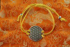 Flower of life armbandje met geel bandje door EASTERNSOULS op Etsy