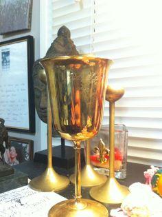 Gold Plated Silver Goblet - Mardis Gras Engraved (Babylon 1978) - Dantes Nferno