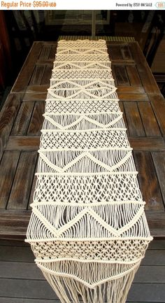 $61 Handwoven Macrame Table Runner Handmade Wedding Table by WallKnot