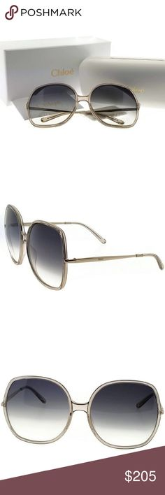 63cc4ee16b973a CE725S-272-62 Chloe Sunglasses New gorgeous authentic Chloe CE725S-272-62  oversized women s light gold frame grey lens 62mm genuine sunglasses with  stylish ...