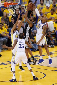Golden State Warriors  David West (3) blocks a shot against San Antonio  Spurs a30d95a8a
