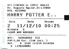 "Cinema: ""Harry Potter: The Deadly Hallows - Part 1"" (Harry Potter: Os Talismãs da Morte - Parte 1). 2010-12-11 ."