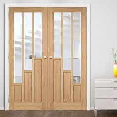 Bespoke Coventry Contemporary Oak Door Pair with Clear Safety Glass - Lifestyle Image.    #oakdoors