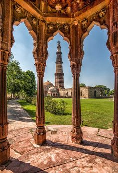 Great shot of Qutub Minar — at meters, it is the tallest brick minaret in the world, and the second tallest minar in India Oh The Places You'll Go, Places To Travel, Places To Visit, India Architecture, Ancient Architecture, Amazing India, India Culture, Visit India, Islamic Architecture